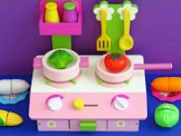 Wooden toy kitchen for children and cooking velcro cutting toy food vegetables